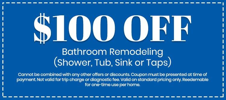 discount on Bathroom Remodeling (Shower, Tub, Sink or Taps)
