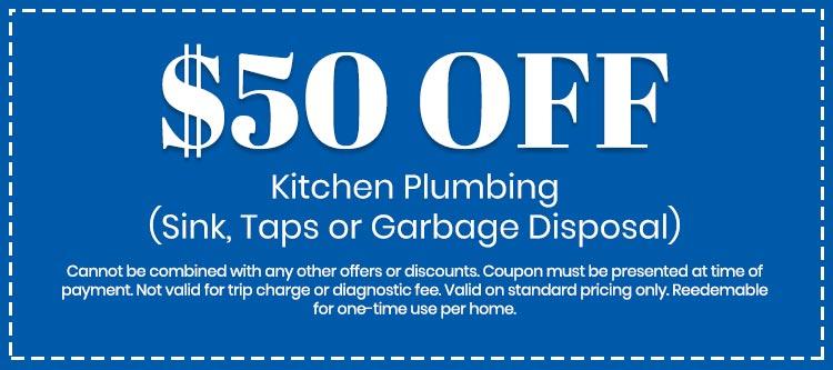 discount on Kitchen Plumbing (Sink, Taps or Garbage Disposal)