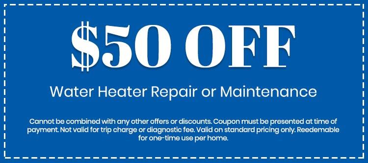 discount on Water Heater Repair or Maintenance